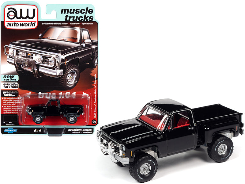 "1980 Chevrolet Custom Deluxe Stepside Pickup Truck Midnight Black with Red Interior ""Muscle Trucks"" Limited Edition to 17008 pieces Worldwide 1:64 Diecast Model Car - Autoworld - 64282A"