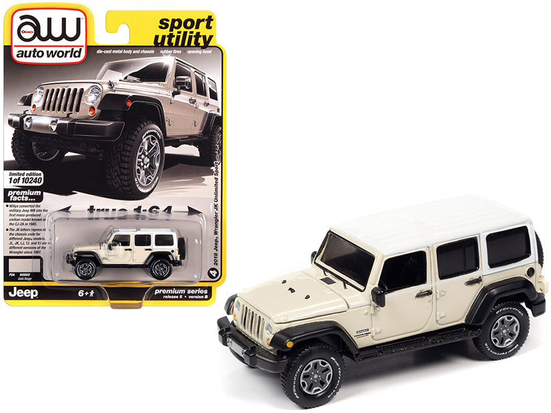 "2018 Jeep Wrangler JK Unlimited Sport Gobi Beige with White Top and White Stripes ""Sport Utility"" Limited Edition to 10240 pieces Worldwide 1:64 Diecast Model Car - Autoworld - 64282B"