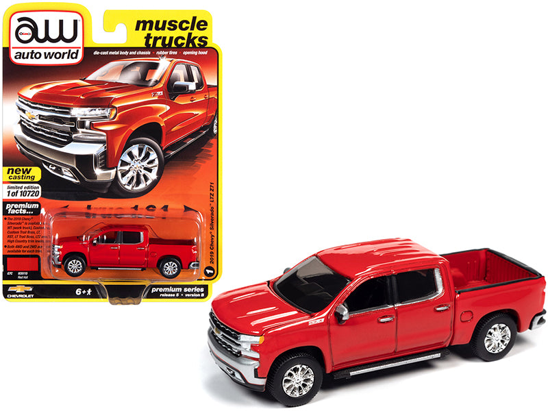 "2019 Chevrolet Silverado LTZ Z71 Pickup Truck Red Hot ""Muscle Trucks"" Limited Edition to 10720 pieces Worldwide 1:64 Diecast Model Car - Autoworld - 64282B"
