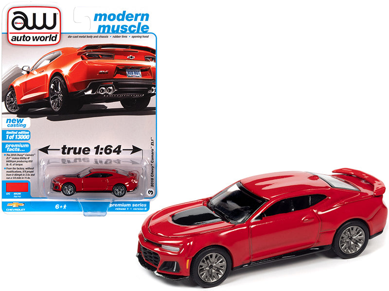 "2018 Chevrolet Camaro ZL1 Red Hot ""Modern Muscle"" Limited Edition to 13000 pieces Worldwide 1:64 Diecast Model Car - Autoworld 64302B"