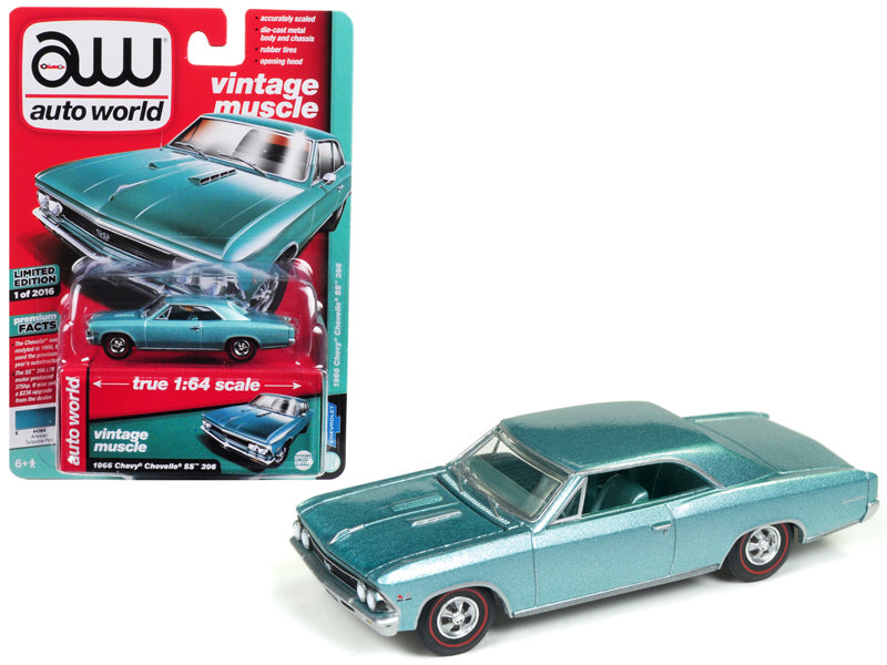 1966 Chevrolet Chevelle SS Artesian Turquoise Limited Edition to 2,016 pieces Worldwide 1:64 Diecast Model Car - Autoworld - AWSP012