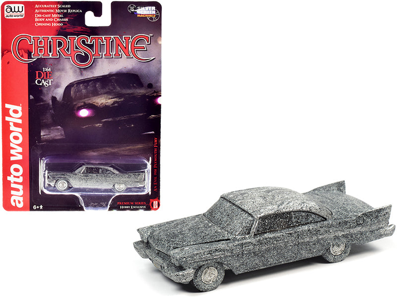 "1958 Plymouth Fury (Evil) After Fire Version ""Christine"" Movie 1:64 Diecast Model Car -Autoworld - AWSP040"