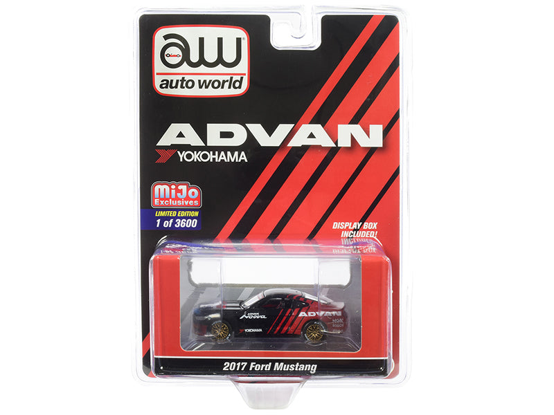 "2017 Ford Mustang ""ADVAN Yokohama"" Red and Black Limited Edition to 3,600 pieces Worldwide 1/64 Diecast Model Car - Autoworld - CP7584"