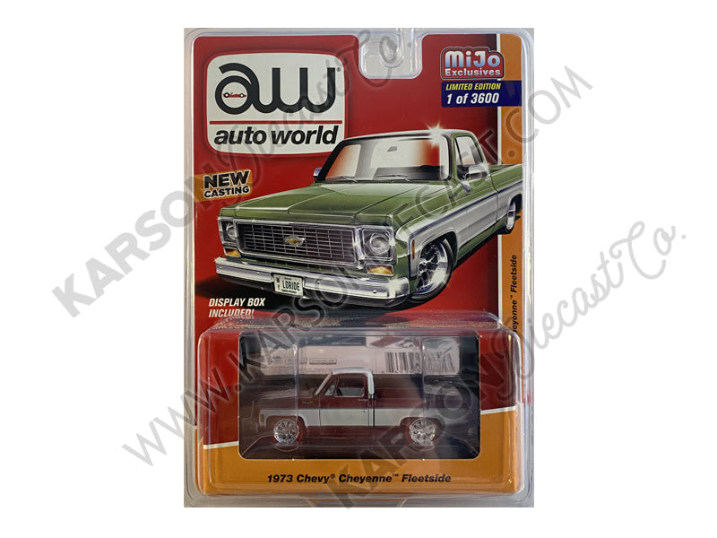 CHASE 1973 Chevy Cheyenne Fleetside Green 1:64 Scale Diecast Model Truck - Autoworld - CP7589