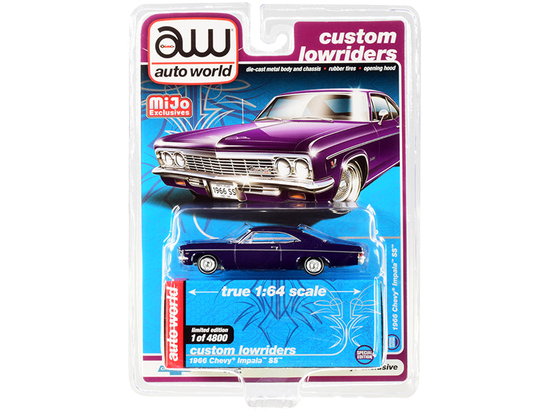 "1966 Chevrolet Impala SS Dark Purple Metallic with White Interior ""Custom Lowriders"" Limited Edition to 4800 pieces Worldwide 1:64 Diecast Model Car - Autoworld - CP7658"