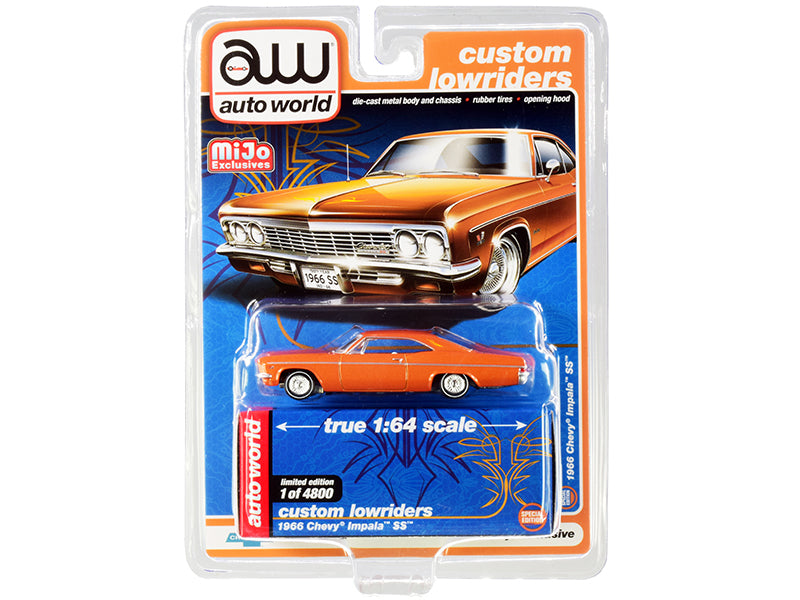 "1966 Chevrolet Impala SS Orange Metallic with White Interior ""Custom Lowriders"" Limited Edition to 4800 pieces Worldwide 1:64 Diecast Model Car - Autoworld - CP7659"
