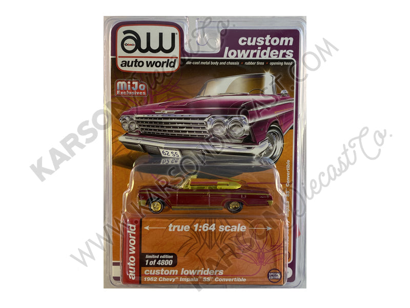 "CHASE 1962 Chevrolet Impala SS Convertible Plum Purple ""Custom Lowriders"" Limited Edition to 4800 pcs Worldwide 1:64 Diecast Model - Autoworld CP7663"