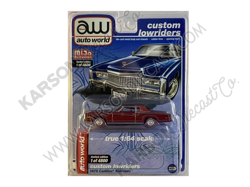 "CHASE 1975 Cadillac Eldorado Dark Blue Metallic ""Custom Lowriders"" Limited Edition to 4800 pieces Worldwide 1:64 Diecast Model - Autoworld - CP7720"