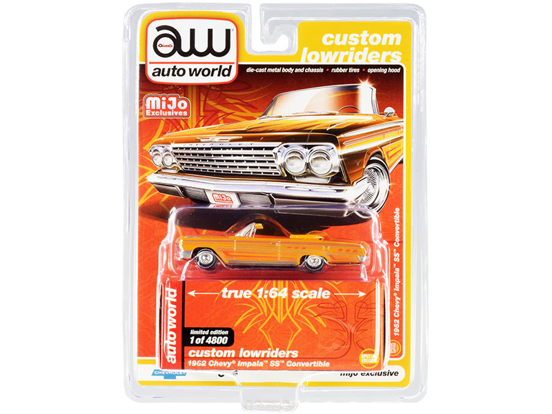 "1962 Chevrolet Impala SS Convertible Yellow with Graphics ""Custom Lowriders"" Limited Edition to 4800 pieces Worldwide 1:64 Diecast Model Car - Autoworld - CP7739"
