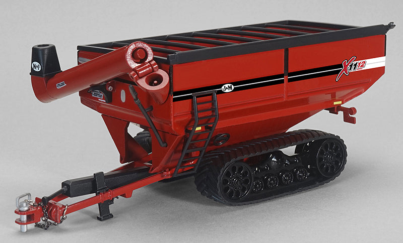 J&M X 1112 Red Grain Cart on Tracks 1/64 Scale Diecast - Speccast - CUST1659