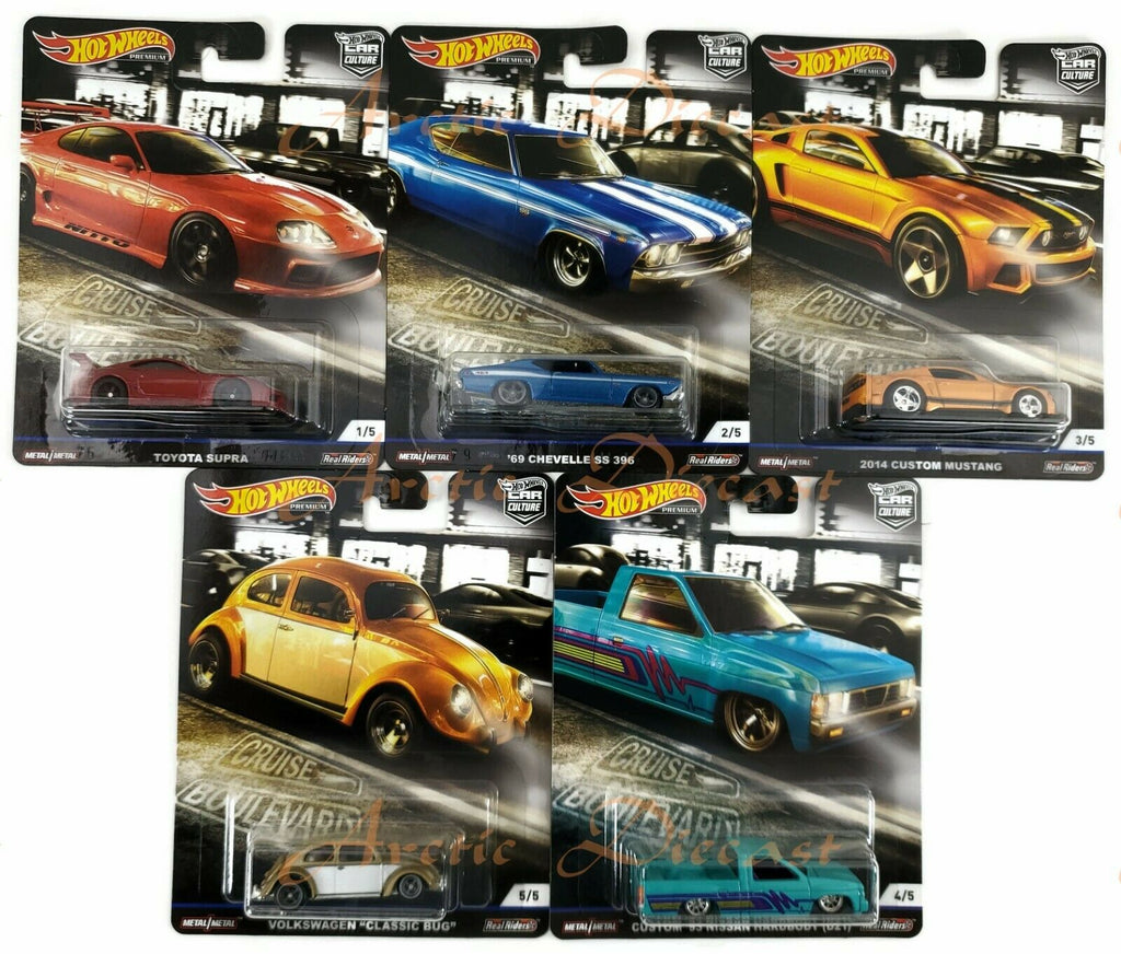 "Hot Wheels 1:64 Scale Premium Series Car Culture ""M"" Set of 5 - Crus'In - Hot Wheels - GBW75-956M"