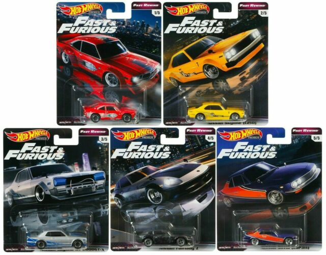 "Hot Wheels 1:64 Scale Premium Series ""E"" Set of 5 - Fast & Furious Fast Rewind - Hot Wheels - GBW75-956E"