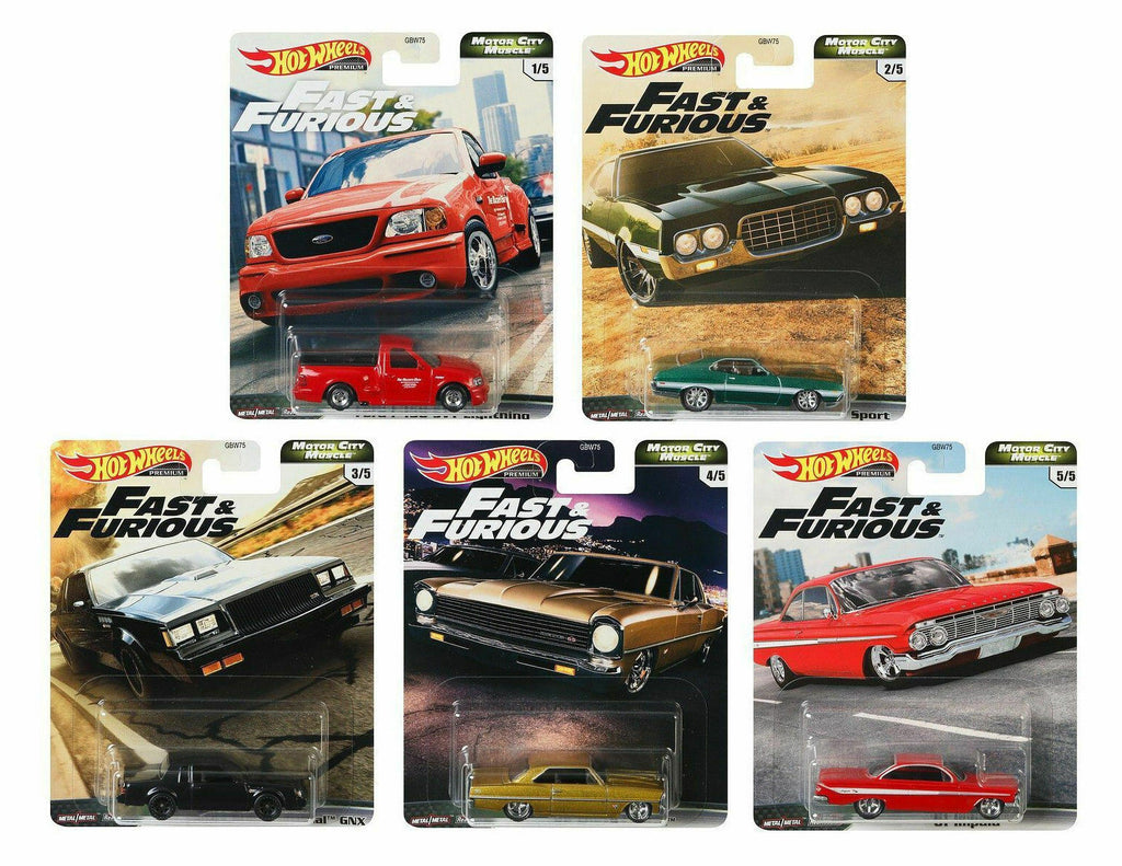 "Hot Wheels Premium 2020 Fast & Furious ""Motor City Muscle"" Set of 5 Diecast Models 1:64 Scale - GBW75-956G"