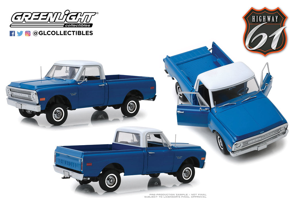 1970 Chevrolet C-10 w/ Lift Kit Highway 61 1:18 Scale Diecast Model - Greenlight - HWY18011