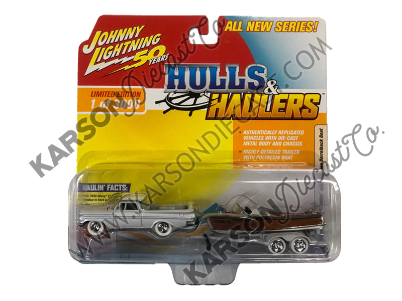 "1959 Chevrolet El Camino Cameo Coral & White Top w/ Vintage Wooden Barrelback Boat Limited Edition to 3,000 pieces Worldwide ""Hulls & Haulers"" Series 1 1:64 Diecast Model Car - Johnny Lightning - JLBT011-36B - CHASE WHITE LIGHTNING"