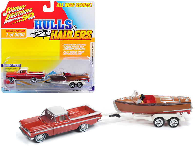 "1959 Chevrolet El Camino Cameo Coral & White Top w/ Vintage Wooden Barrelback Boat Limited Edition to 3,000 pieces Worldwide ""Hulls & Haulers"" Series 1 1:64 Diecast Model Car - Johnny Lightning - JLBT011-36B"