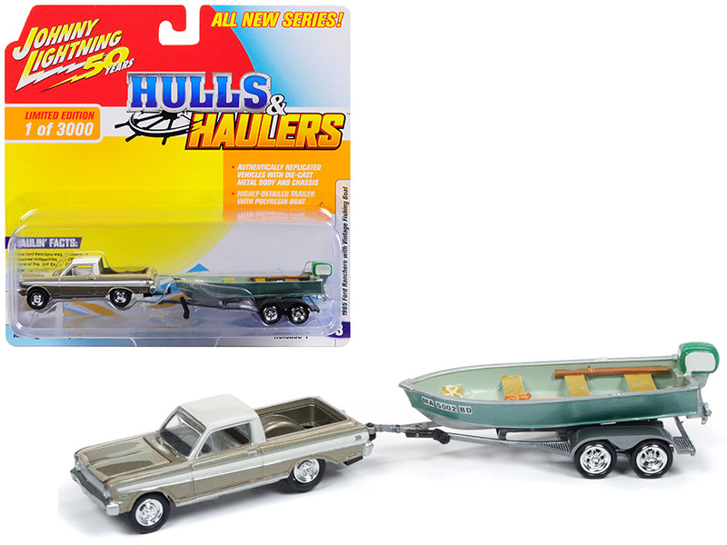"1965 Ford Ranchero Honey Gold w/ Cream Top (Weathered) w/ Vintage Fishing Boat Limited Edition to 3,000 pieces Worldwide ""Hulls & Haulers"" Series 1 1:64 Diecast Model Car - Johnny Lightning - JLBT011B"