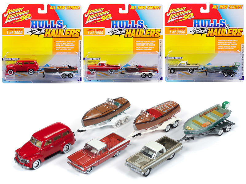 """Hulls & Haulers"" Series 1, Set B of 3 Cars Limited Edition to 3,000 pieces Worldwide 1:64 Diecast Model Cars - Johnny Lightning - JLBT011B-SET"