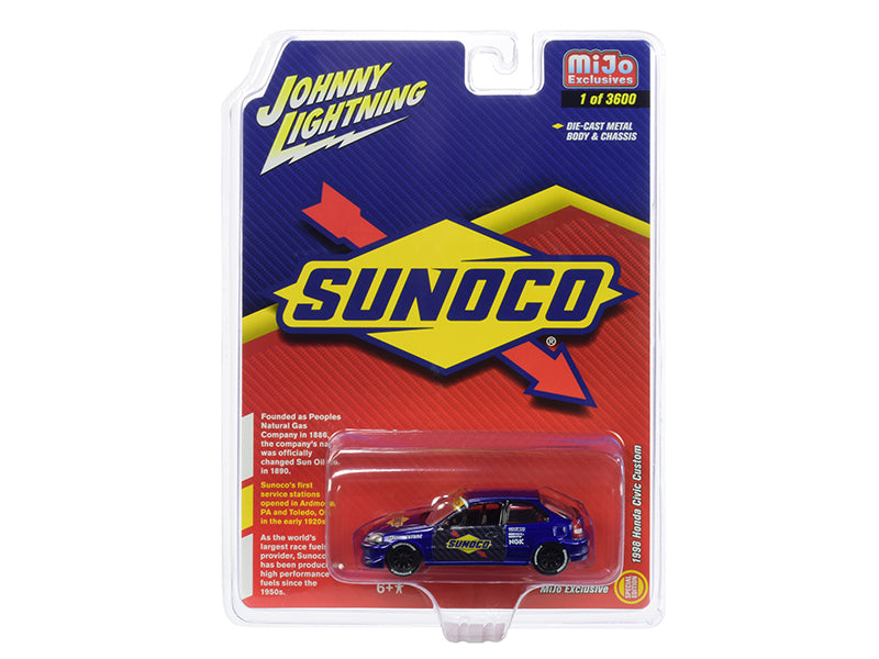 "1998 Honda Civic Custom Dark Blue ""Sunoco"" Limited Edition to 3,600 pieces Worldwide 1/64 Diecast Model Car - Johnny Lightning - JLCP7193"