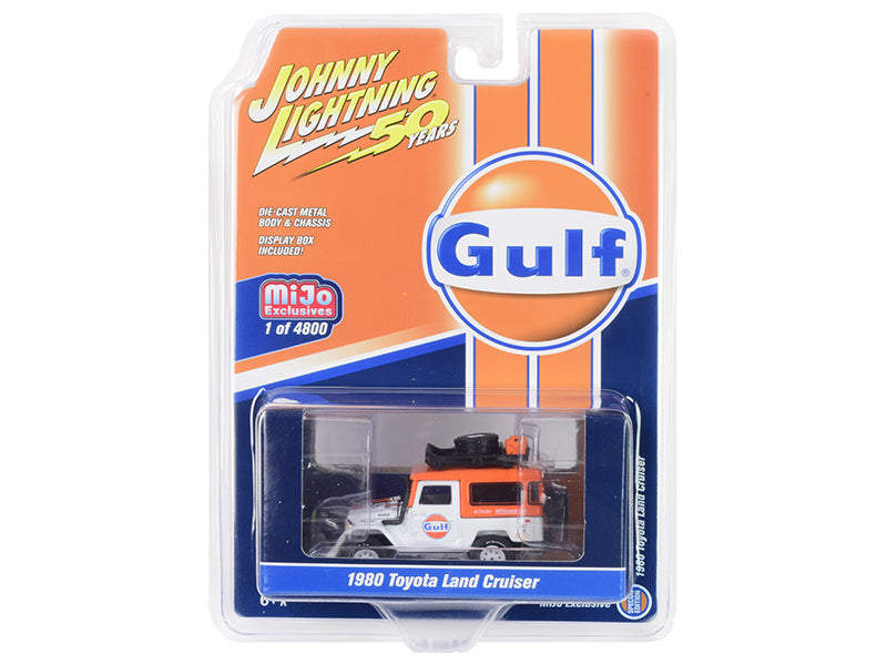 "1980 Toyota Land Cruiser ""Gulf Oil"" Orange and White with Accessories ""Johnny Lightning 50th Anniversary"" Limited Edition to 4,800 pieces Worldwide 1/64 Diecast Model Car - Johnny Lightning - JLCP7238"