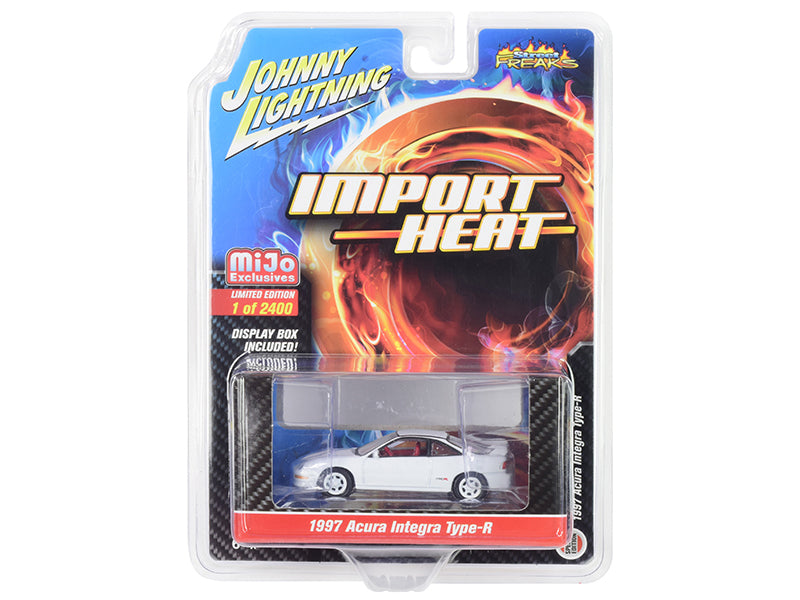 "1997 Acura Integra Type R White with Red Interior ""Import Heat"" Limited Edition to 2,400 pieces Worldwide 1/64 Diecast Model Car - Johnny Lightning - JLCP7252"