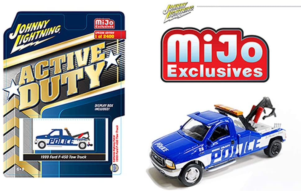 "1999 Ford F-450 Police Tow Truck Blue with White Stripes ""Active Duty"" Limited Edition to 2,400 pieces Worldwide 1:64 Diecast Model - Johnny Lightning - JLCP7255"