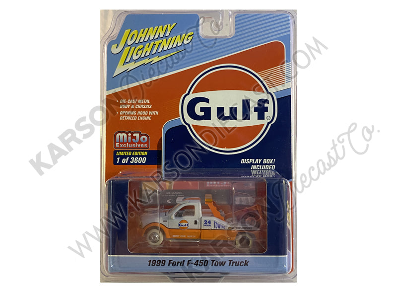 "CHASE 1999 Ford F-450 Tow Truck ""Gulf Oil"" Orange and Light Blue Limited Edition to 3,600 pieces Worldwide 1:64 Diecast Model - Johnny Lightning -  JLCP7257"
