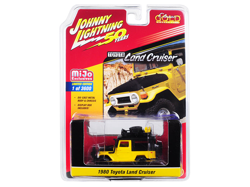 "1980 Toyota Land Cruiser Yellow and Black with Accessories ""Johnny Lightning 50th Anniversary"" Limited Edition to 3,600 pieces Worldwide 1/64 Diecast Model Car - Johnny Lightning - JLCP7284"