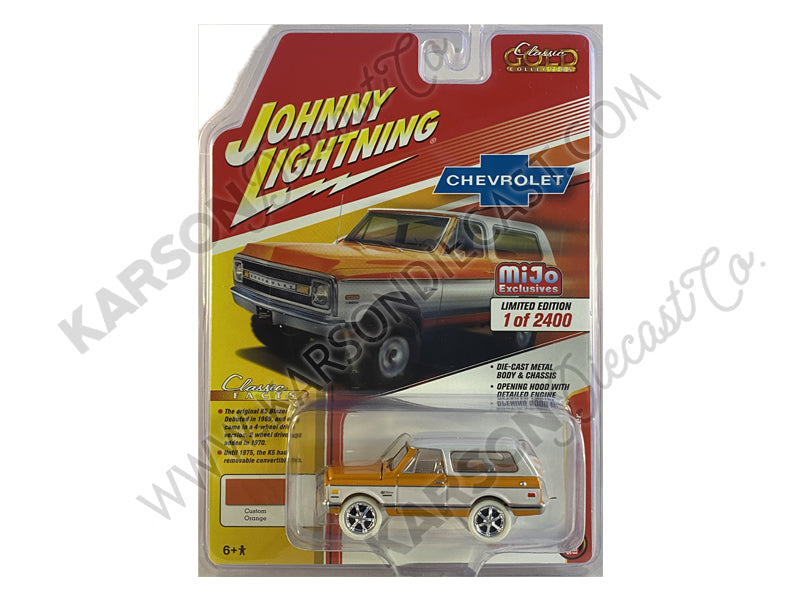 CHASE 1970 Chevrolet Blazer Orange/White 1:64 Scale Diecast Model Truck - Johnny Lightning - JLCP7312