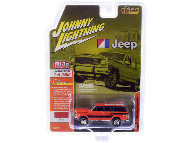 1981 Jeep Wagoneer Custom Orange w/ Black Stripes Limited Edition to 2,400 pieces Worldwide 1:64 Diecast Model - Johnny Lightning JLCP7314