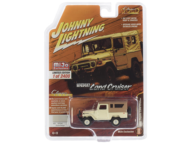 1980 Toyota Land Cruiser Dune Beige with Brown Top Limited Edition to 2,400 pieces Worldwide 1:64 Diecast Model - Johnny Lightning - JLCP7316
