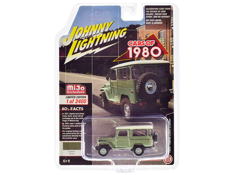 1980 Toyota Land Cruiser Green with White Top Limited Edition to 2400 pieces 1:64 Diecast Model Car - Johnny Lightning - JLCP7328