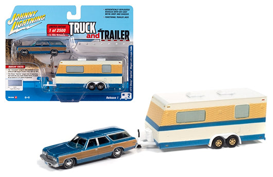 1973 Chevrolet Caprice Wagon Blue Metallic with Wood Paneling & Camper Trailer Limited to 2500 1:64 Diecast Model Car - Johnny Lightning JLCP7337B