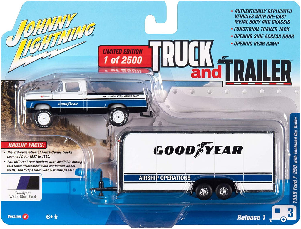 1959 Ford F-250 Pickup Truck & Enclosed Car Trailer Goodyear Limited to 2500 1:64 Diecast Model Car - Johnny Lightning JLCP7338B