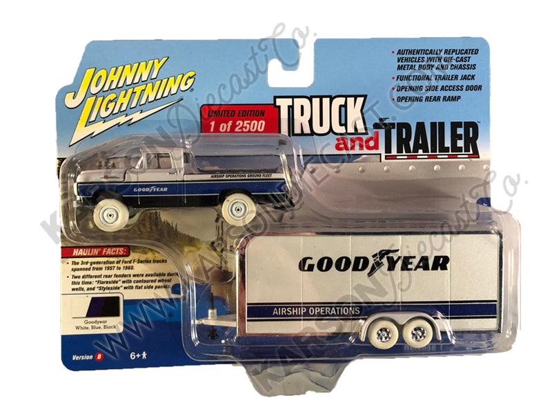 CHASE 1959 Ford F-250 Pickup Truck & Enclosed Car Trailer Goodyear Limited to 2500 1:64 Diecast Model Car - Johnny Lightning JLCP7338B