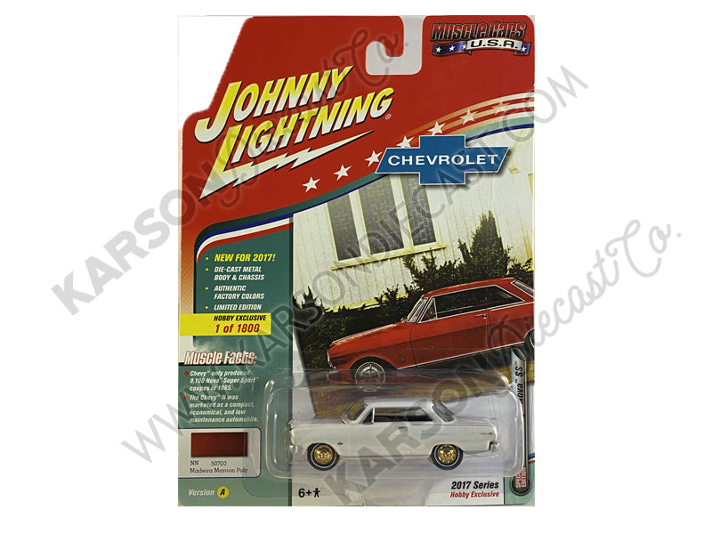 "CHASE 1965 Chevrolet Nova SS Madeira Maroon Poly Limited Edition to 1800pc Worldwide Hobby Exclusive ""Muscle Cars USA"" 1:64 Diecast Model Car - Johnny Lightning - JLMC010-24A"
