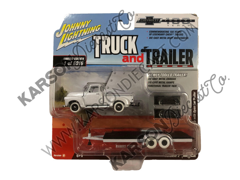 "1950 Chevrolet Pickup Truck Matte Black w/ Open Car Trailer Limited Edition to 6,016 pieces Worldwide ""Truck and Trailer"" Series 2 ""Chevrolet Trucks 100th Anniversary"" 1:64 Diecast Model - Johnny Lightning - JLSP021 - CHASE WHITE LIGHTNING"