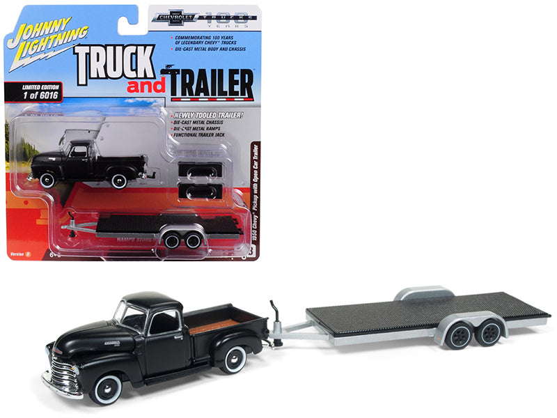 "1950 Chevrolet Pickup Truck Matte Black w/ Open Car Trailer Limited Edition to 6,016 pieces Worldwide ""Truck and Trailer"" Series 2 ""Chevrolet Trucks 100th Anniversary"" 1:64 Diecast Model - Johnny Lightning - JLSP021"
