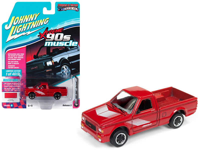 1991 GMC Syclone Pickup Truck Gloss Red 1:64 Diecast Model - Johnny Lightning - JLSP027B