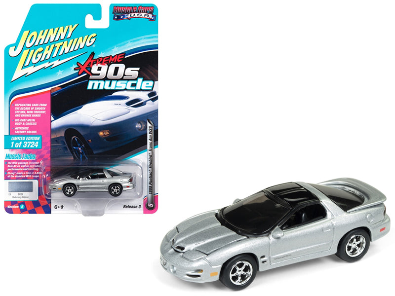 1999 Pontiac Firebird Trans Am WS6 Sebring Silver 1:64 Model - Johnny Lightning - JLSP028-24B