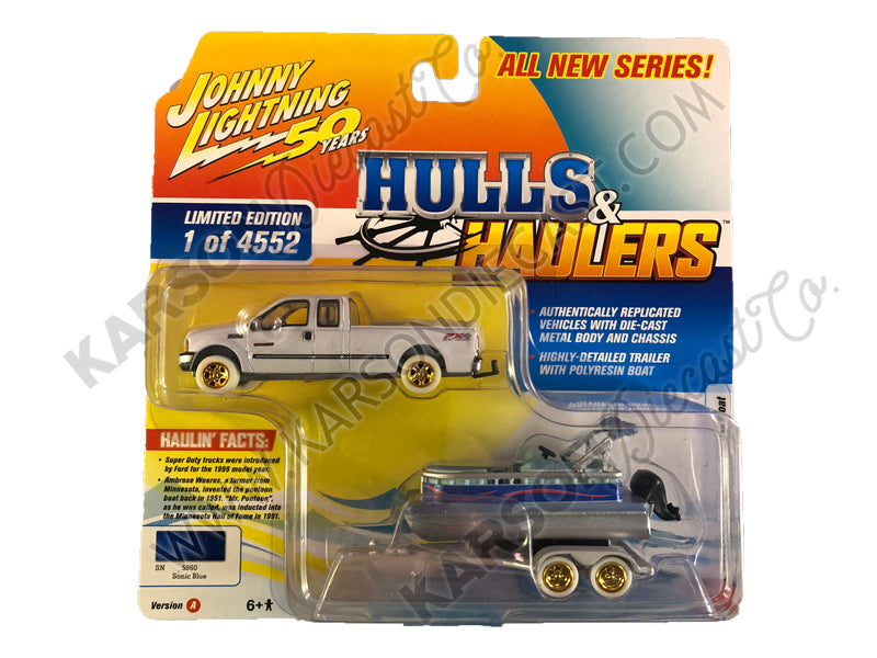 "CHASE 2004 Ford F-250 Pickup Truck Sonic Blue Metallic with Pontoon Boat Limited Edition to 4,552 pieces Worldwide ""Hulls & Haulers"" Series 2 ""Johnny Lightning 50th Anniversary"" 1/64 Diecast Model Car by Johnny Lightning - JLSP066"