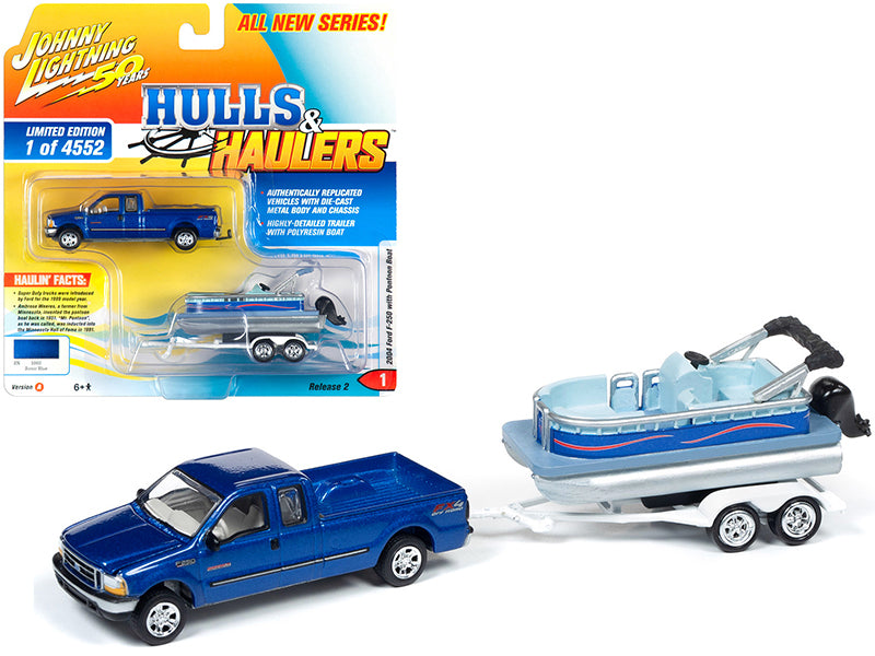 "2004 Ford F-250 Pickup Truck Sonic Blue Metallic with Pontoon Boat Limited Edition to 4,552 pieces Worldwide ""Hulls & Haulers"" Series 2 ""Johnny Lightning 50th Anniversary"" 1/64 Diecast Model Car by Johnny Lightning - JLSP066"