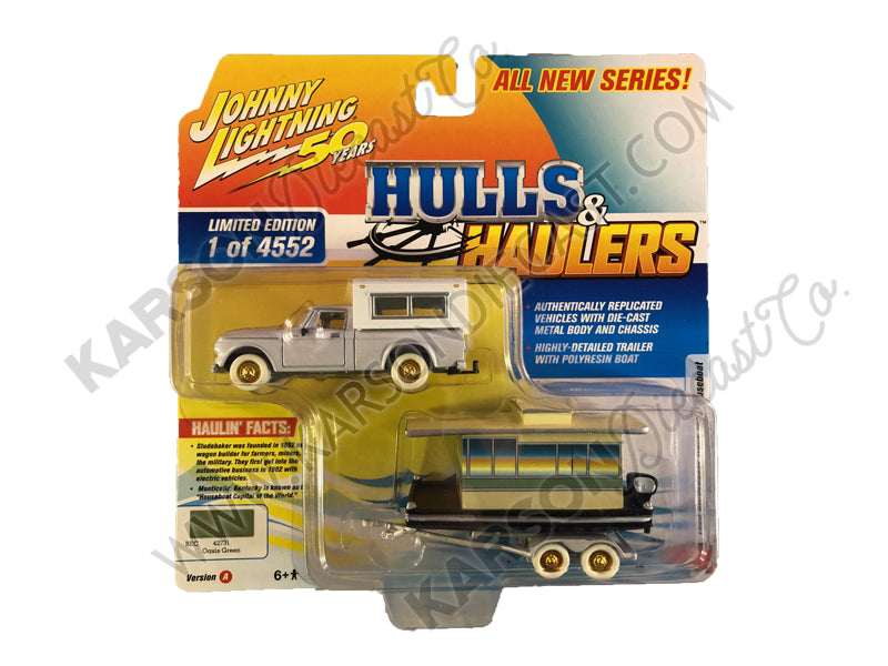 "CHASE 1960 Studebaker Pickup Truck with Camper Shell Oasis Green with Houseboat Limited Edition to 4,552 pieces Worldwide ""Hulls & Haulers"" Series 2 ""Johnny Lightning 50th Anniversary"" 1/64 Diecast Model Car by Johnny Lightning - JLSP067"