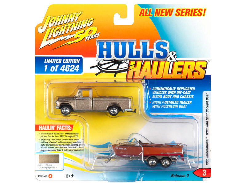 "1965 International 1200 Pickup Truck Champagne Mist / Gold Metallic with Split-Cockpit Boat Limited Edition to 4,624 pieces Worldwide ""Hulls & Haulers"" Series 2 ""Johnny Lightning 50th Anniversary"" 1/64 Diecast Model Car - Johnny Lightning - JLSP068"