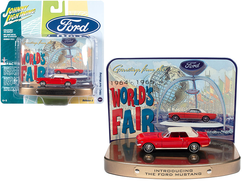 "1964 1/2 Ford Mustang Rangoon Red in Collectible Tin Display ""Introducing The Ford Mustang"" ""Greetings from World's Fair 1964-1965"" 1:64 Diecast Model - Johnny Lightning JLSP081"