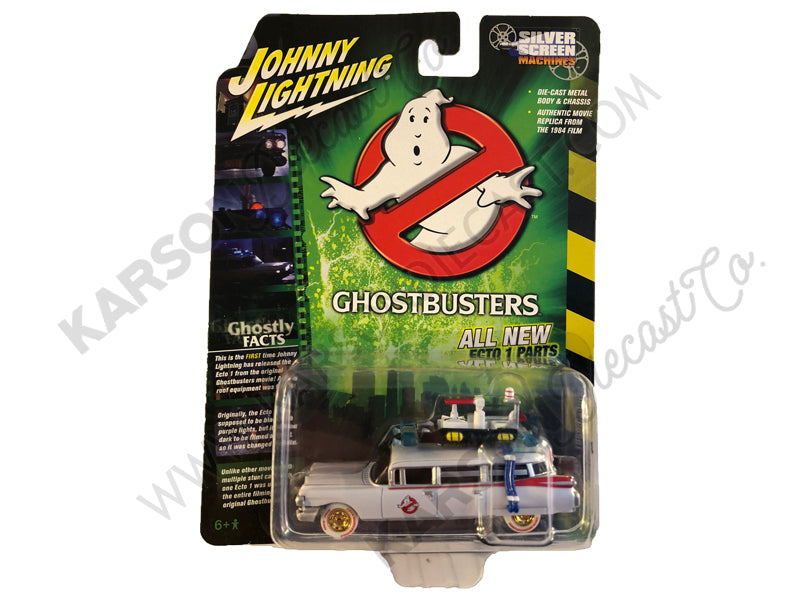 "1959 Cadillac Eldorado ECTO-1 Ambulance White ""Ghostbusters"" (1984) Movie 1/64 Diecast Model Car - Johnny Lightning - JLSS006 - CHASE WHITE LIGHTNING"