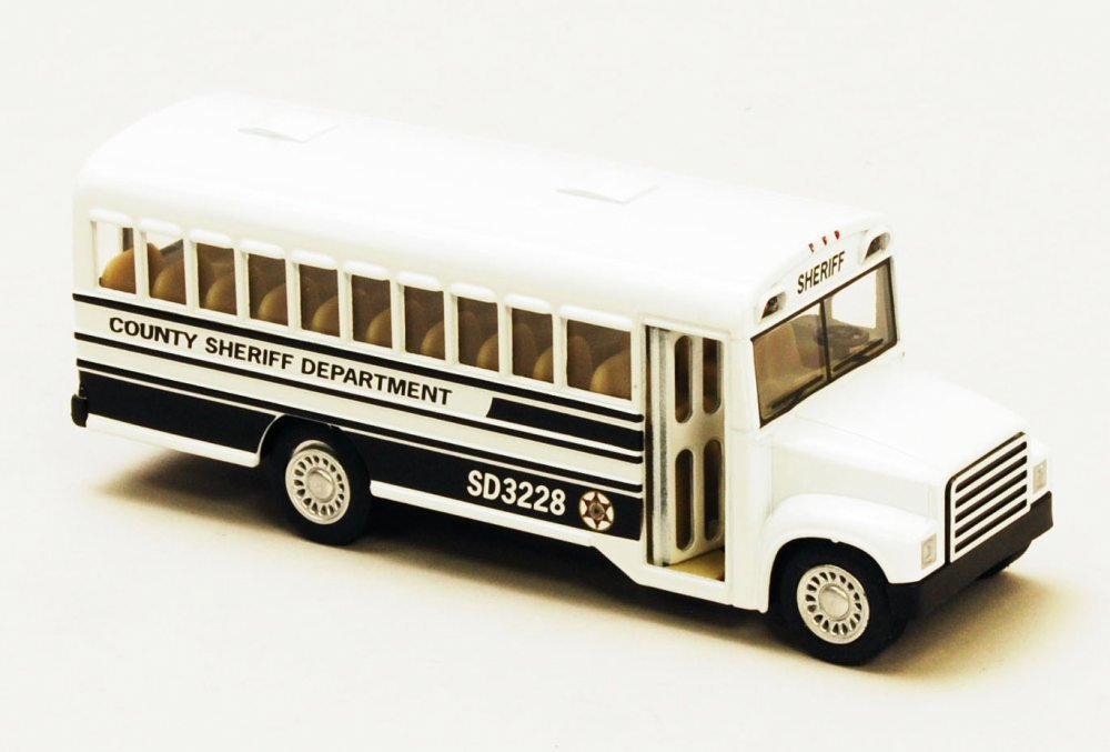 "County Sheriff Bus, White 5"" Diecast Model Toy Car- Kinsmart - 5107CS"