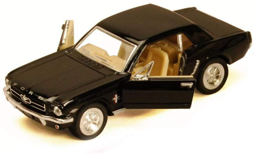 1964 1/2 Ford Mustang Black Diecast Model Pull Back - Kinsmart KT5351BK