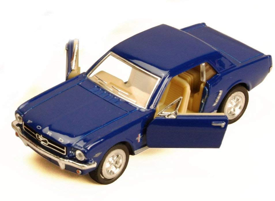 1964 1/2 Ford Mustang Blue Diecast Model Pull Back - Kinsmart KT5351BL