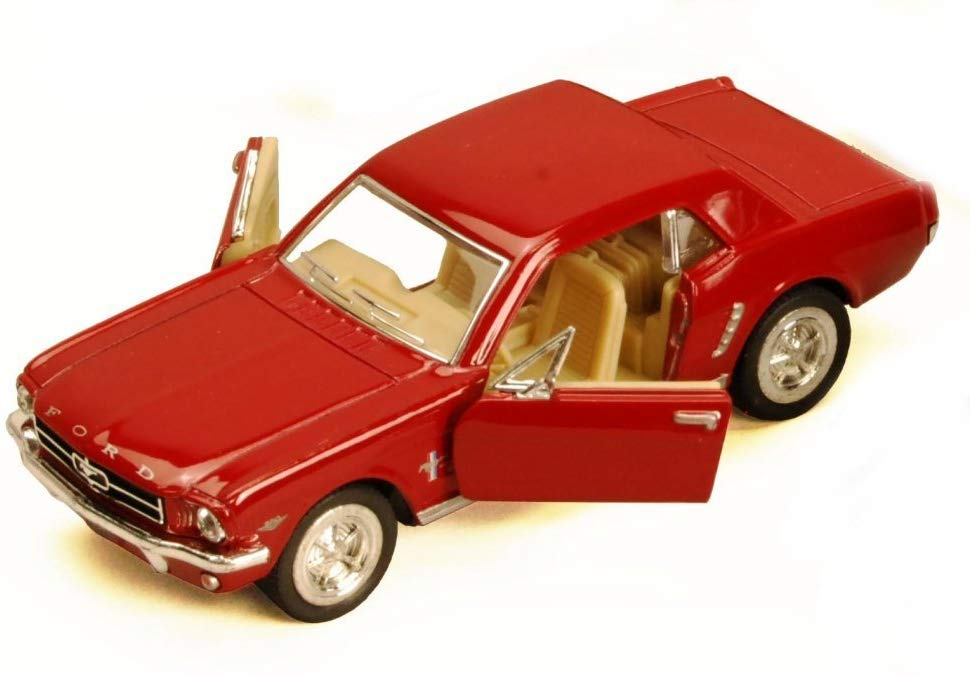 1964 1/2 Ford Mustang Red Diecast Model Pull Back - Kinsmart KT5351RD